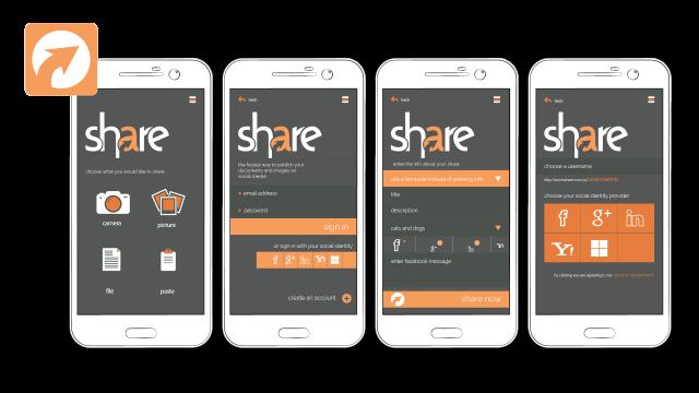 User Interface Design Mockup – Prizm Share Mobile App