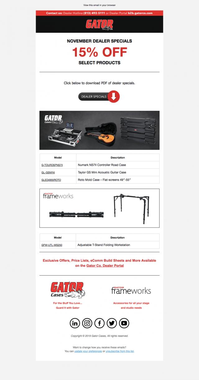 Email – Gator Cases & Gator Frameworks Dealer Specials
