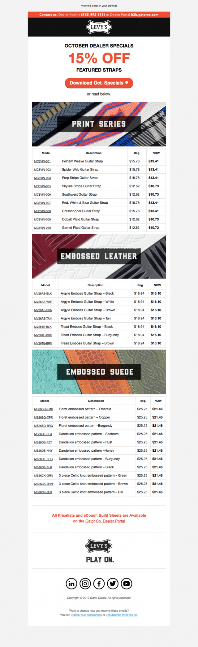 Email – Levys Dealer Specials