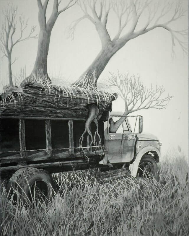 Reclaimed – Ink Wash on Paper – 16-in x 24-in